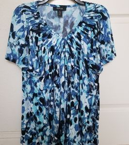 Style & Co Blue/Black Splash Short Sleeve Top